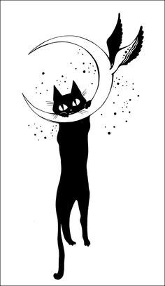 Mooncat - moon, cat, wings - depesha2 | ello