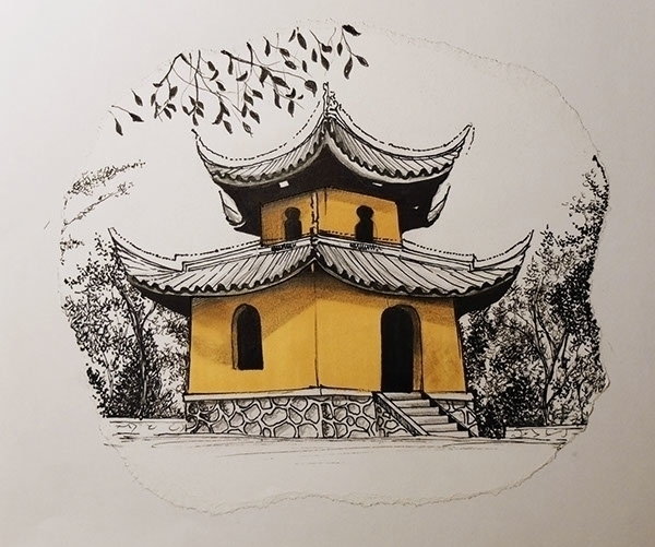 China temple - drawing, china, yellow - juliettemary | ello