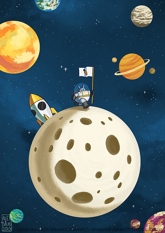 bunny, astronaut, space, planets - alexandrasketch | ello