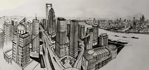Shanghai city - sky - drawing, micronpen - juliettemary | ello