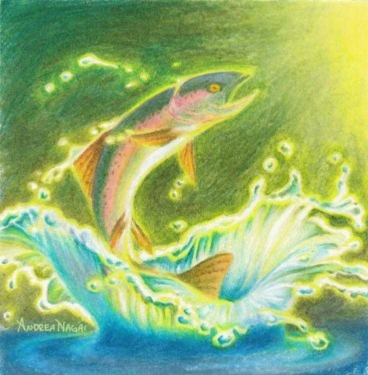 Rise Shine - salmon, trout, fish - catnipandcocoa | ello