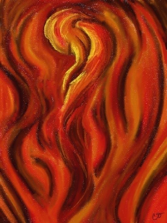 Fire Digital oil pastels - oilpastel - crysodenkirk   ello