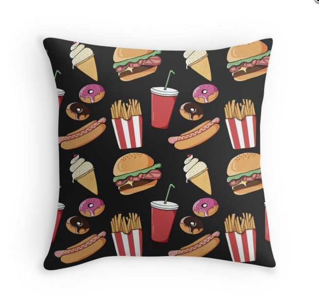 Fast Food Throw Pillows - fastfood - adelemanuti | ello