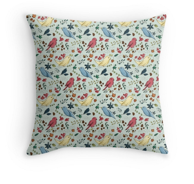 Birds Pattern Throw Pillows - illustration - adelemanuti | ello