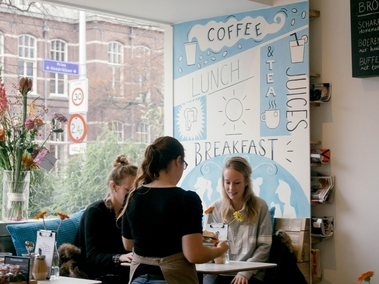 Mural cafe hometown - painting, typography - kellybreemer | ello