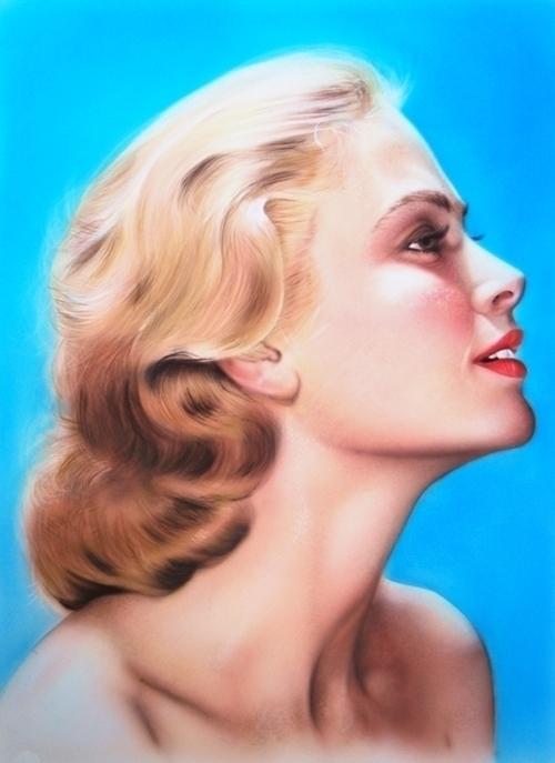 Grace Kelly - acrylic A4 - painting - springz | ello