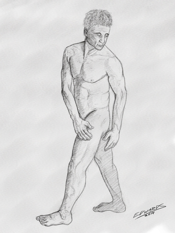 Reference drawing - male, nude, model - puzzgon | ello