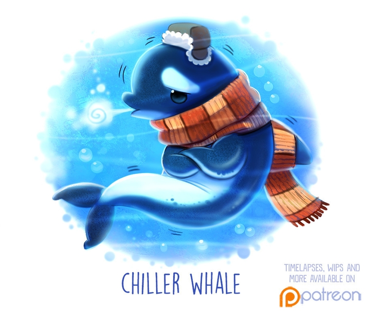 Daily Paint 1507. Chiller Whale - piperthibodeau | ello