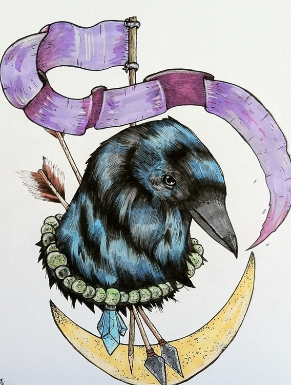 Crow Hex - crow, bird, design, ink - sleepyvolf | ello