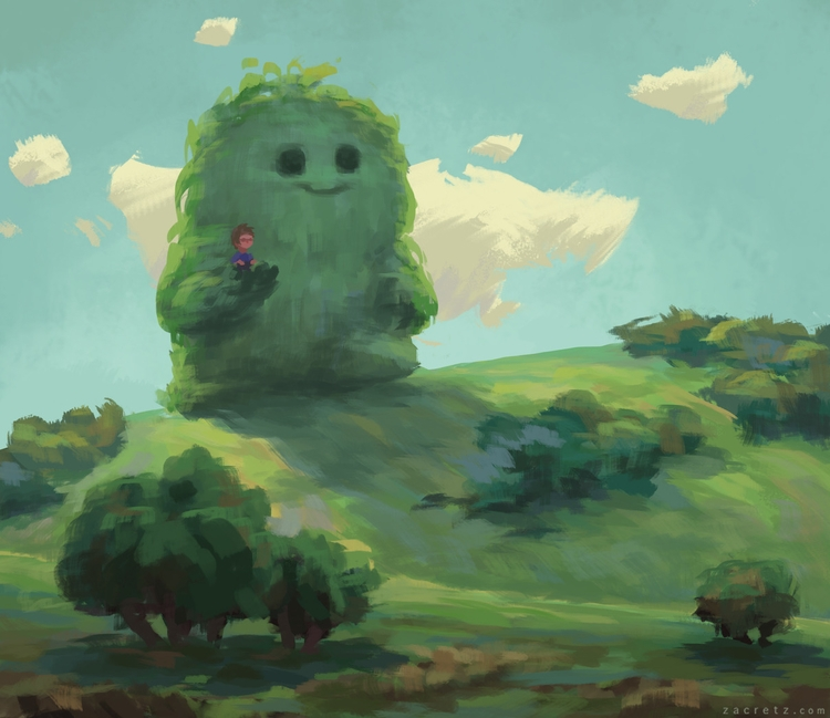 Apaintingeveryday - landscape, monsters - zacretz | ello