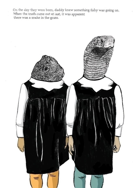 Snake fishy - illustration, portrait - marikeleroux | ello