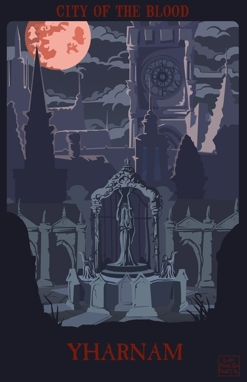bloodborne, vintage, travelillustration - foolishmortal-9324 | ello