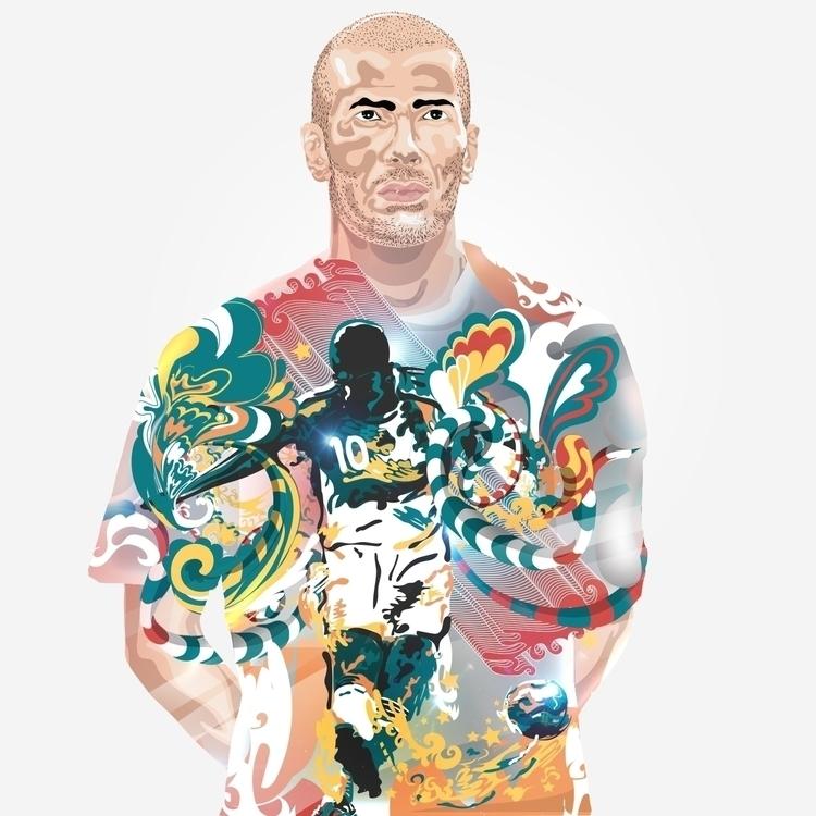 illustration footballer zinedin - kashsmith | ello