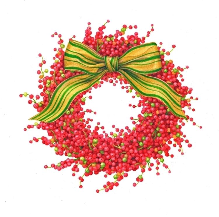 berry wreath painted Caspari - karenkluglein | ello