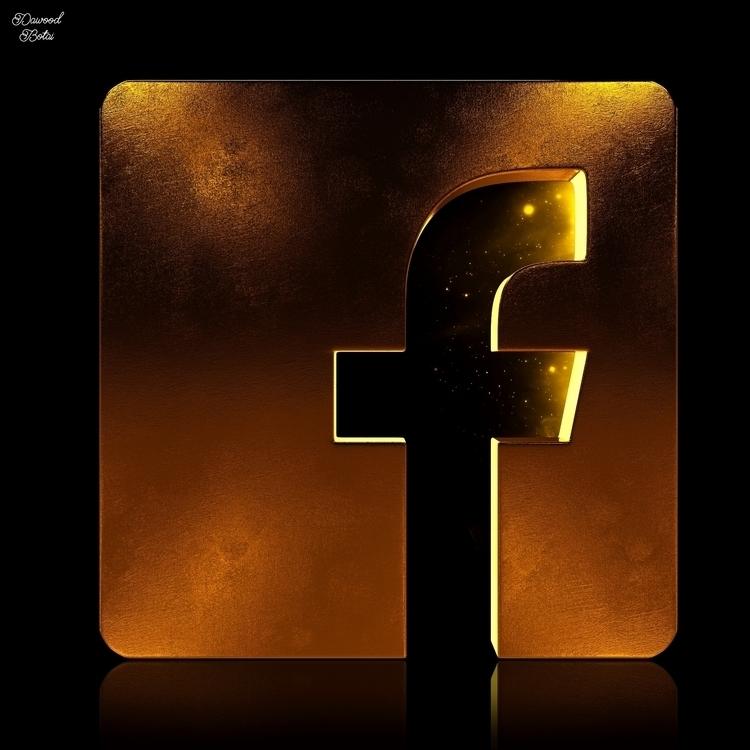 Facebook Golden Icon - 3dmax, 3d - dawood-3963   ello
