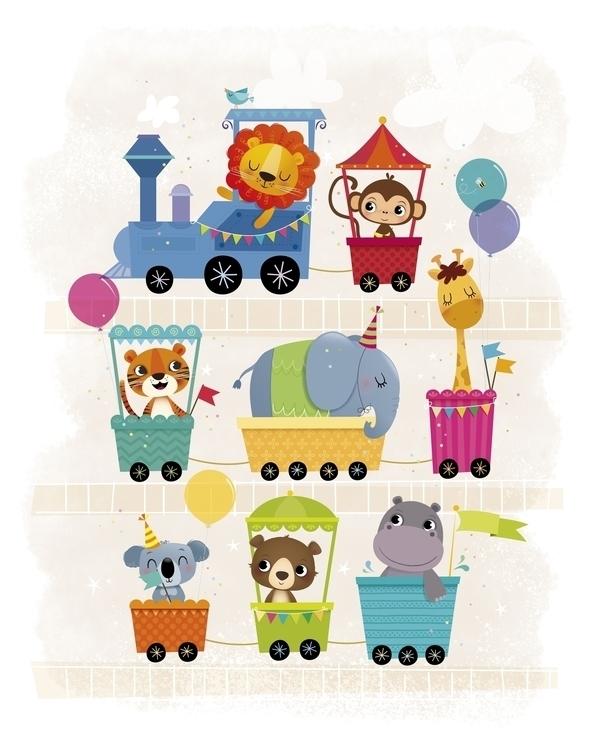 Animal train - illustration, characterdesign - irenegough | ello