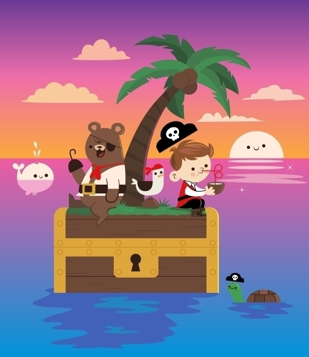 Treasure Island - vector, illustration - skinnyandy | ello
