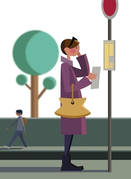 bus stop (2015 - illustration, vector - deadbyxmas | ello