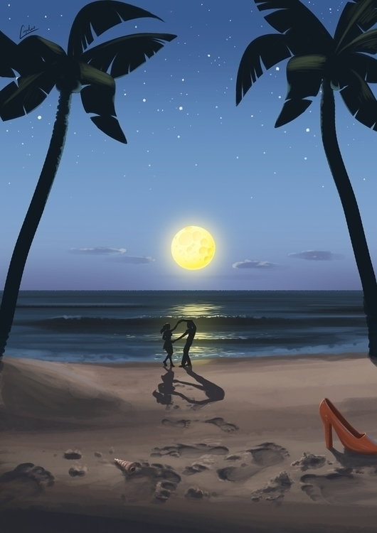 Dancing moon - digitalpainting, digitalillustration - adamlapko | ello