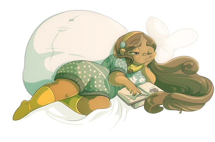 Gemini Reading - illustration, characterdesign - saetje | ello