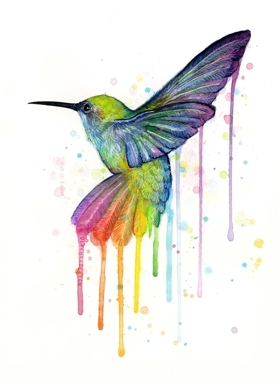 Rainbow Hummingbird Watercolor - olechkadesign | ello