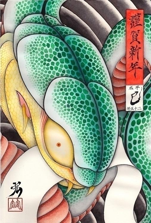 year card 2012 snake - happynewyear - kota_nakatsubo | ello