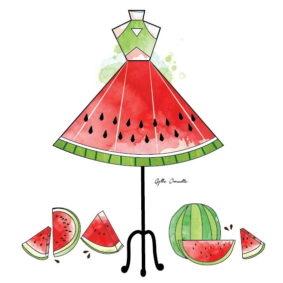 Watermelon inspired dress - illustration - mgylle | ello