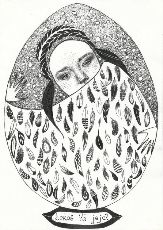 chicken egg - illustration, portrait - natasakonjevic | ello