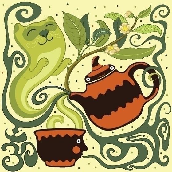 Teacat - tea, cat, illustration - ololonycolophony | ello