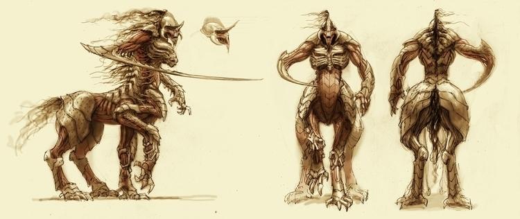 Centaur creature design - #leftraro,cristianmontes,conceprtart,characterdesign,illustration,tedfield,radarpictures - cristianmonteslynch   ello