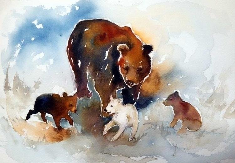 Mama Bear Cubs - watercolor, illustration - brightspirit | ello