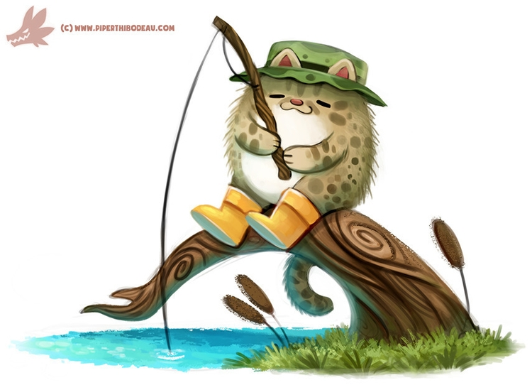 Daily Paint Fishing Cat - 1160. - piperthibodeau | ello