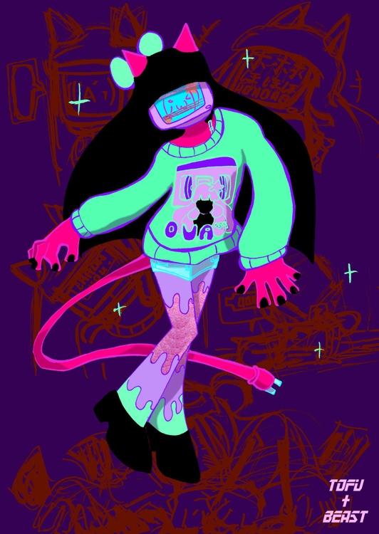 robot oni gal - illustration, pinup - tofuplusbeast | ello