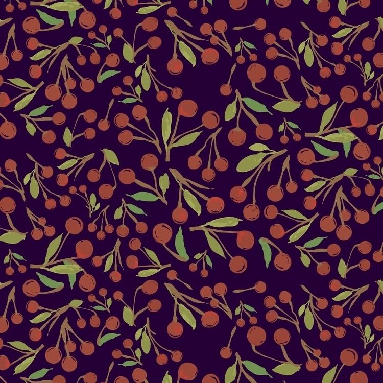 Pattern Cherry jam - illustration - mariiakozina | ello