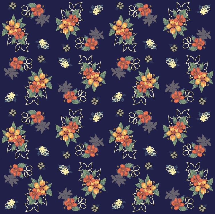 Pattern Exotic flowers - drawing - mariiakozina   ello