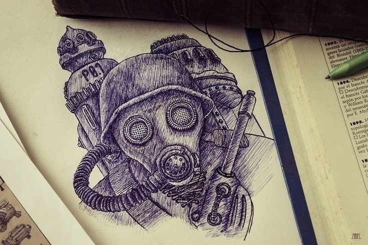 Máscara de gas - mask, drawing, military - samuelarmas3 | ello
