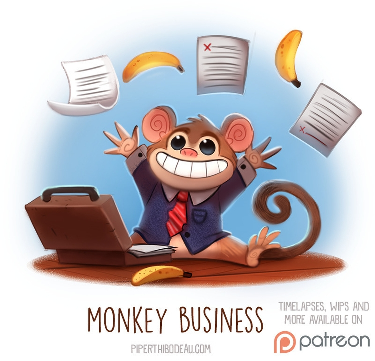 Daily Paint 1519. Monkey Busine - piperthibodeau | ello
