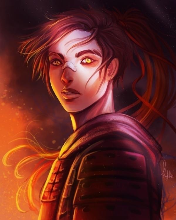 samurai, illustration, fire - kylukia   ello