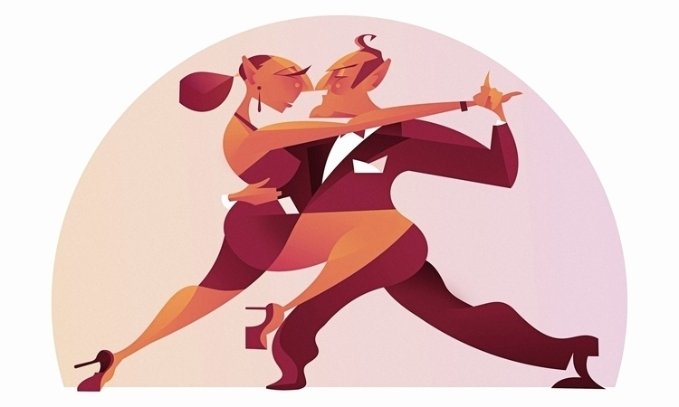 Tango - coupledancing, digitalillustration - fabio_p_corazza | ello