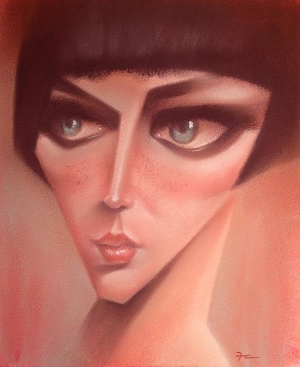 Deco Girl - portrait, girl, pastel - fabio_p_corazza | ello