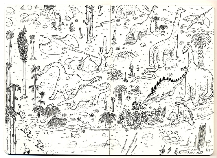 dinosaurs, nature, river, illustration - adriancao | ello