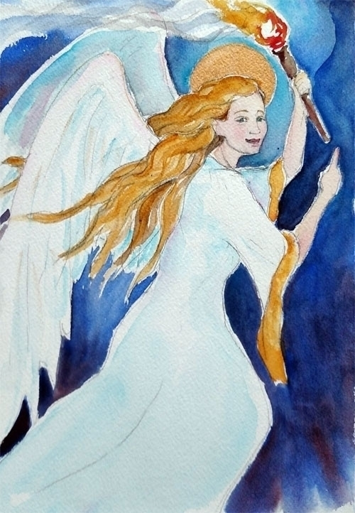 Custom Guardian Angel Painting - brightspirit | ello
