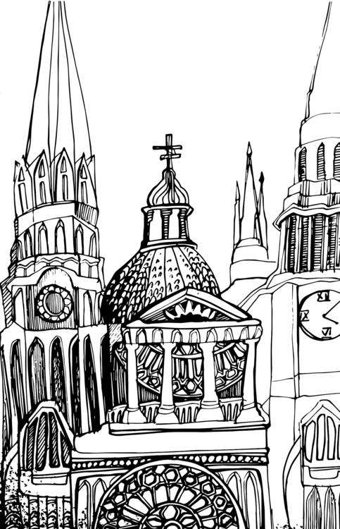 sketch Stylized Gothic architec - mariiakozina | ello