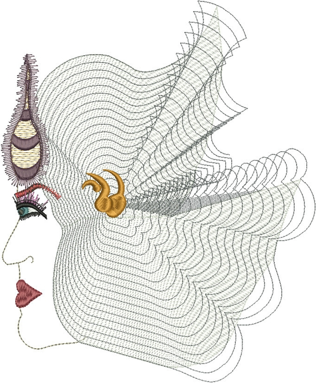 Mercury Mary - woman, embroidery - esn-3951   ello