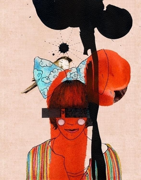 girl, drawing, ink, illustration - randi-8271 | ello