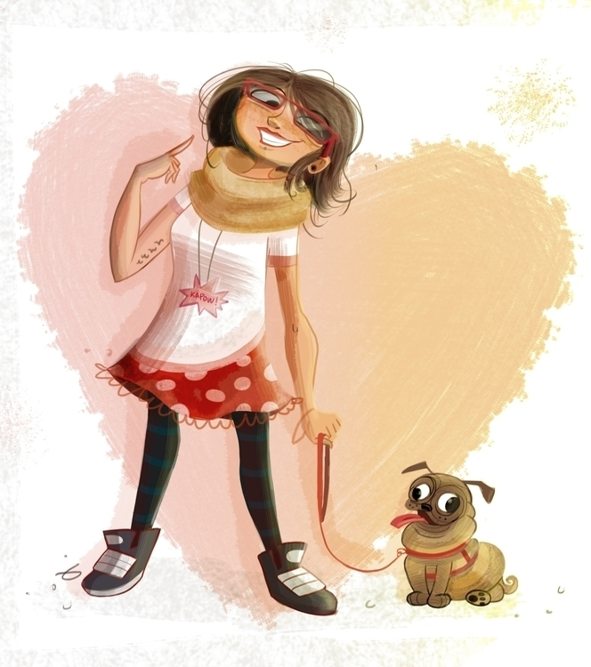 girl, dog, illustration - estrelalourenco | ello