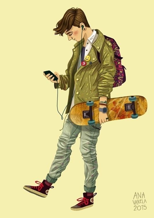 skater, boy, anavarela, sketch - anavarela | ello