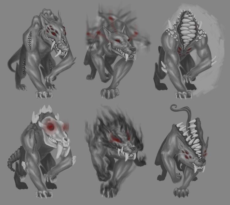 hellhound, beast, concept, sketch - lisaayla | ello