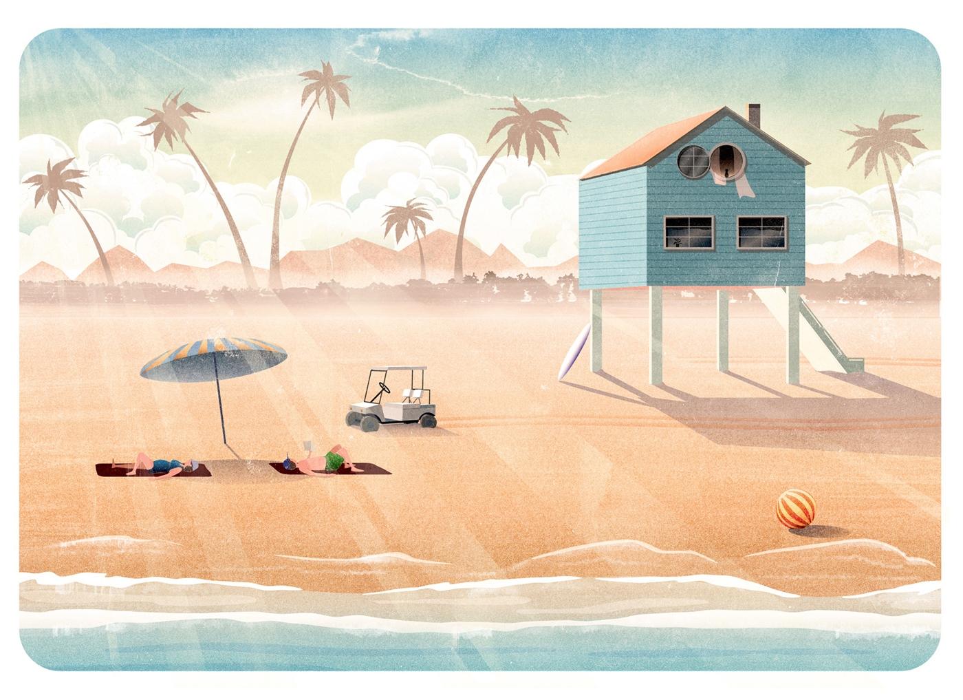 Dreaming beach holiday - illustration - mathildaholmqvist | ello
