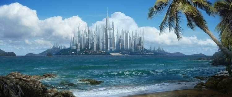 landscape, island, city, futuristic - lisaayla | ello
